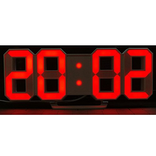 (Zehui Modern Digital LED Wall Clock Table Desk Night Electric Clock Alarm Watch Multi-Functional LED Clock 24 or 12 Hour Display Digital Clock Red)
