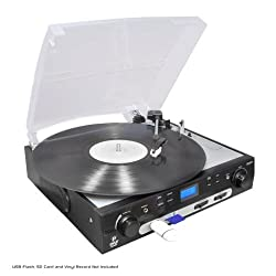 Pyle Usb Turntable With Direct-To-Digital Usb/sd Card Encoder & Built-In Am/fm Radio Conversion by PYLE