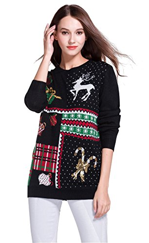 Women's Christmas Cute Reindeer Snowflakes Knitted Sweater Girl Pullover (XX Large, Presents)
