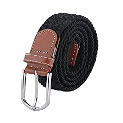 MIJIU Elastic Braided Stretch Belt Women Men Casual Belt with Silver Buckle