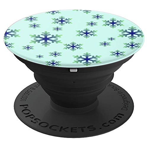 Aqua and Blue Snowflake Pattern - PopSockets Grip and Stand for Phones and Tablets
