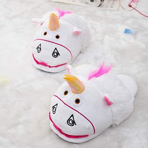 Fenical Festival 35 40 Chaud Taille Cadeaux Hiver Noël Adulte Enfant Licorne Blanc Chaussons Pantoufles Peluche OqnUrO