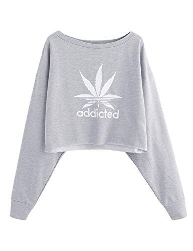 SweatyRocks Women's Drop Shoulder Graphic Sweatshirt Long Sleeve Crop Top M (Flag Usa Sweatshirt)