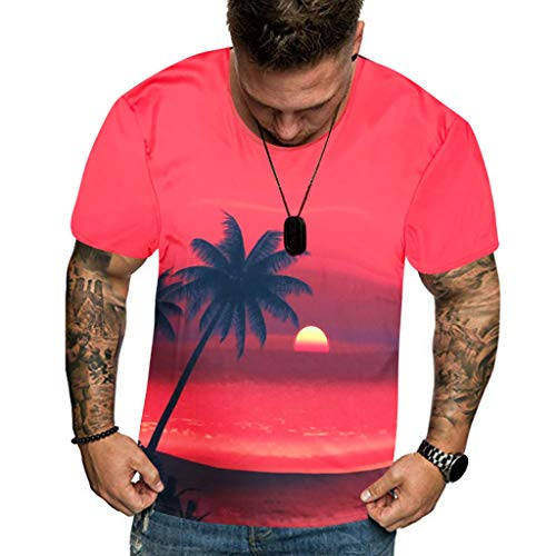 T Shirt Hawaiian Shirt Flower Leaf Beach Party Casual Holiday Short Sleeve Summer New Full 3D Printed Plus Size Cool Printing Top Blouse Men (L,2- Pink) ()