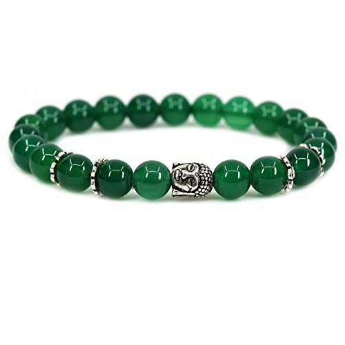 - A Grade Green Agate with 925 Sterling Silver Buddha Head Gemstone 8mm Round Beads Stretch Bracelet 7