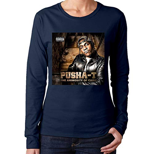 Women's Long Sleeve T-Shirts PushaThe Animosity T Crew Neck Top Cotton T Shirt Navy ()