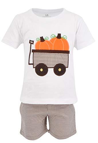 Unique Baby Boys Pumpkin Patch Wagon Halloween Thanksgiving Outfit Shirt (5) Brown