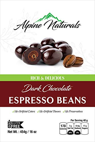 Alpine Naturals Dark Chocolate Espresso Beans, 16 Ounce (Chocolate Coffee Covered Beans)