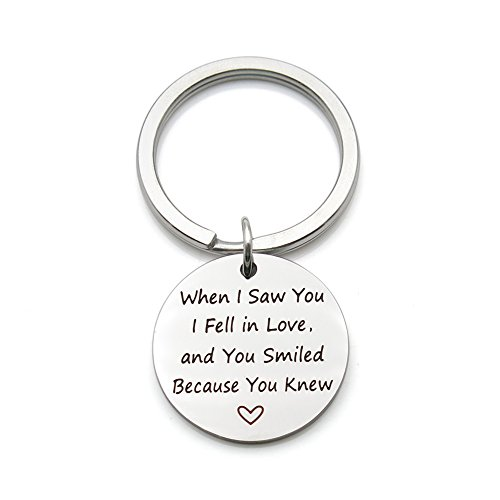When I saw you I fell in love Stainless Steel Romantic Valentine's Day Gift Pendant Keychain Key Ring