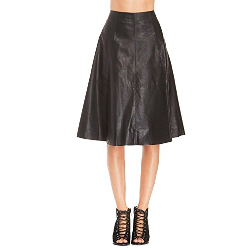 Women PU Leather A-Line Skirts High Waist Skirts Black for sale  Delivered anywhere in USA