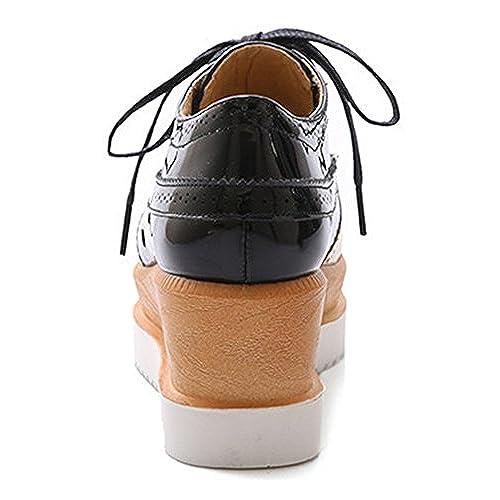 1dd1dd2cc2a9 80%OFF Sfnld Women s Trendy Square Toe Brogue Platform Medium Wedge Heel  Lace Up Loafers