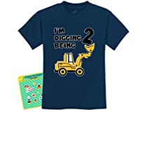 Im Digging Being 2-2nd Birthday Construction Bulldozer Tractor T-Shirt Medium Yellow Haze