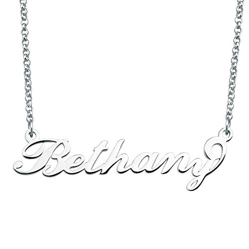 (SexyMandala Personalized Name Necklace Initial Necklace Customized Sterling Silver Original Font Pendant Jewelry Same Day Shipping Gift for Bethany)