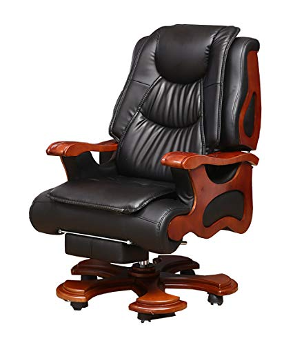 DZXYQ Solid Wood Computer Chair Chairs Executive Chair Reclining Office Chair PU Leather Massage Chair Chair Lift 360 Degrees Swivel President Chair,Black,002