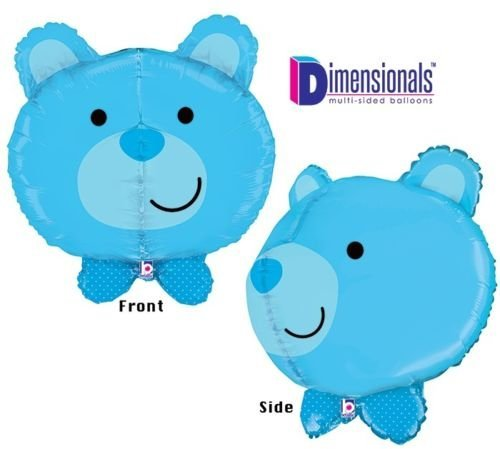 LoonBalloon BLUE BEAR Teddy Dimensional Its a BOY Polka Dot 27