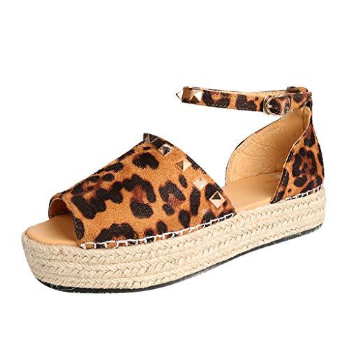 (HOSOME Women Woven Thick-Bottom Sandals Rivet Flat Playform Buckle Roman Shoes Brown)