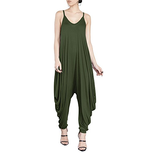 Sophisticated T-shirt Lady The - Dreamskull Women's Punk Spaghetti Strap Jumpsuit V Neckline Comfy Loose Harem One Piece Romper (M, ArmyGreen)