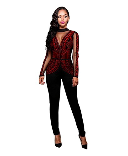[Women Sexy See Through Mesh Bodycon Clubwear Jumpsuit Rompers Overalls Wine M] (Sexy Jumpsuit Costumes)