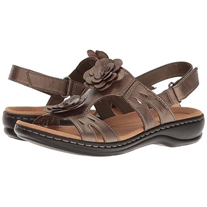 Clarks Women's Leisa Claytin Flat Sandal Pewter Metallic Leather 9 5 M Us