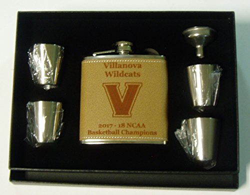 (Villanova Wildcats 2017-18 NCAA Champions 6 leather covered stainless steel flask with 4 shot glasses and a funnel in a black presentation box )