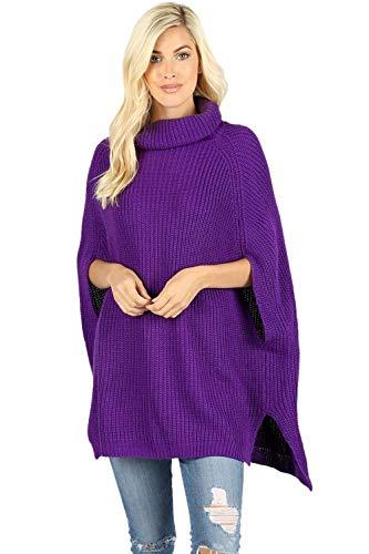 Women's Turtleneck Thick Warm Knitted Winter Shawl Cape Poncho Wrap Sweater-Purple (Medium)