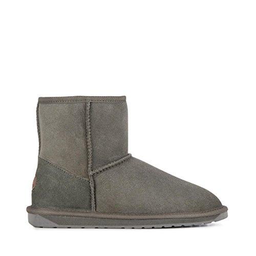 EMU Australia Womens Stinger Mini Winter Real Sheepskin Boots Size 8 Charcoal