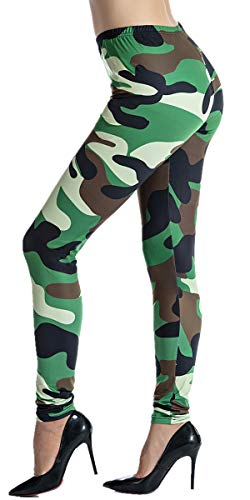 Ndoobiy Womens Leggings Printed Plus Size Soft Floral Prints Leggings Black Legging Women Stretch Yoga Pants for Women L3(Camouflage OS) - Make Camo Suit