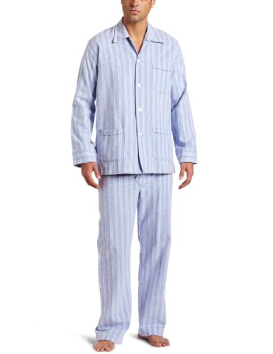 Derek Rose Men's Arran Flannel Pajama Set, Blue, X-Large