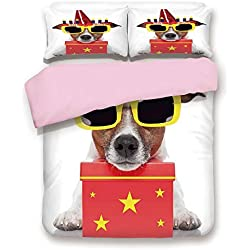 iPrint Pink Duvet Cover Set,King Size,Party Dog with Sunglasses and Cone Hat Boxes Stars Image,Decorative 3 Piece Bedding Set with 2 Pillow Sham,Best Gift for Girls Women,Red and Yellow
