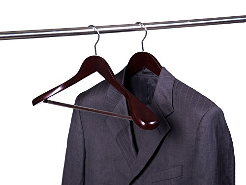 Amber Home Gugertree Solid Wooden Hanger, Suit Hanger, Coat Hanger with Extra-Wide Shoulders Walnut Color Smooth Finish with Sturdy Non Slip bar 5 pack by Amber Home (Image #5)