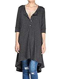 Women's New Half Sleeve High Low Loose Tunic Tops