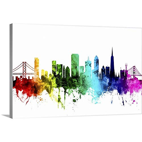 (San Francisco Skyline, Rainbow Canvas Wall Art Print, 36