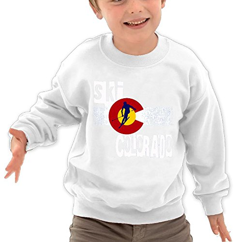 Price comparison product image Puppylol Ski Colorado Kids Classic Crew-Neck Pullover Hoodie White 5-6 Toddler