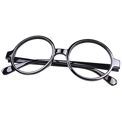 FancyG Retro Geek Nerd Style Round Shape Glass Frame NO LENSES - Black]()