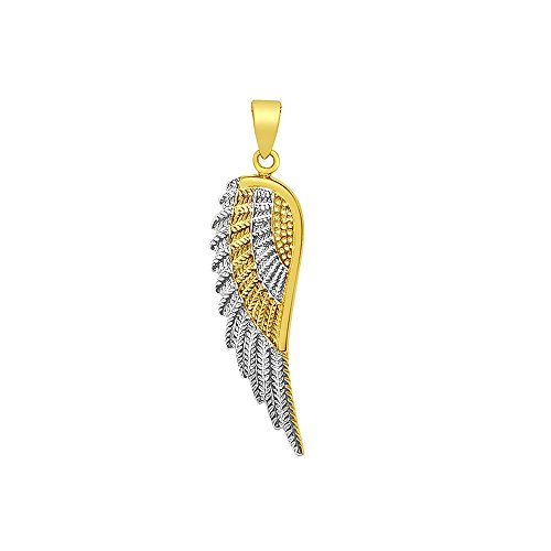 Precious Stars Jewelry 14k Two-Tone Gold Angel Wing Pendant