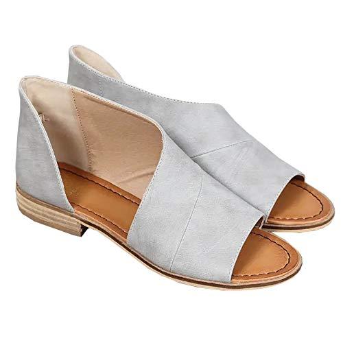 Huiyuzhi Womens Open Toe Flat Sandals Side Laser Cutout Sandal Ankle Booties Flats V grey 12 B(M) US