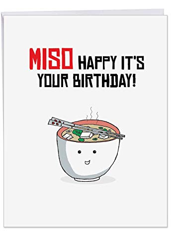 J6119IBDG Jumbo Birthday Greeting Card: Birthday Puns - A smiling bowl of soup is steaming over with funny good wishes, With Envelope (Giant Size: 8.5
