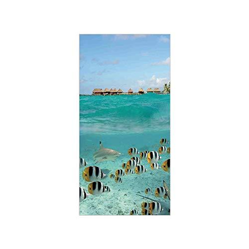 - 3D Decorative Film Privacy Window Film No Glue,Ocean,Blacktip Reef Shark Chasing Butterfly Fish Lagoon of Bora Bora Tahiti,Aqua Yellow and Black,for Home&Office