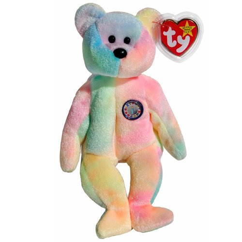 1 X Ty Beanie Babies - B.B. the Ty-Dyed Birthday Teddy Bear