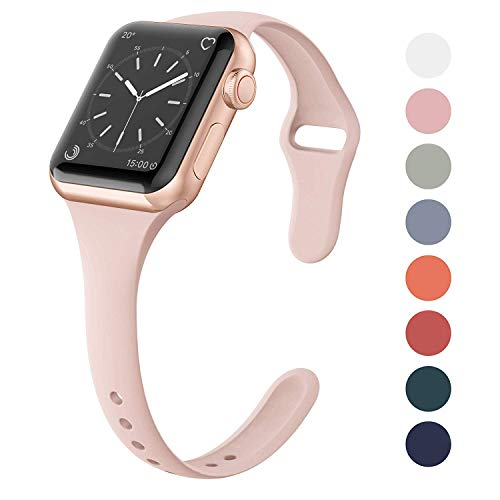 SWEES Sport Silicone Band Compatible Apple Watch 38mm 40mm, Soft Silicone Slim Thin Narrow Small Replacement Strap for iWatch Series 4, Series 3, Series 2, Series 1, Sport, Edition Women, Sand Pink