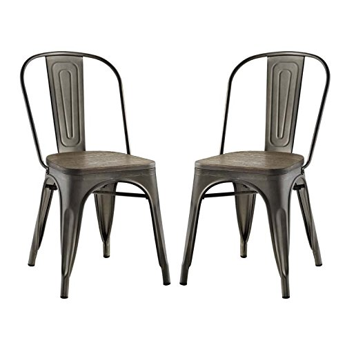 Modway Promenade Stackable Modern Aluminum Two Bistro Dining Side Chair Set With Bamboo Seat in Brown