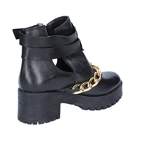 Leather Womens Inuovo Boots Ankle Black BYBIXq