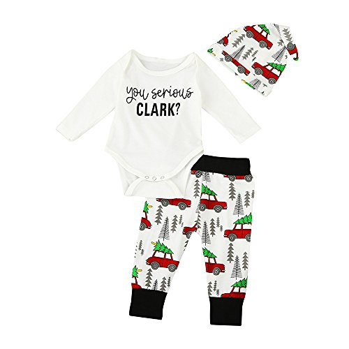 Sayolala Girls Trip Shirts Newborn Infant Baby Boy Girl Clothes Letter Romper Tops+Pants 3PCS Outfits Kids Down Jacket White