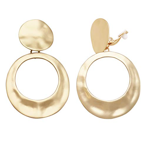 Rosemarie Collections Women's Statement Matte Hammered Metal Disc Hoop Dangle Clip on Style Earrings (Gold Tone)