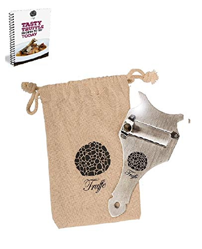 5☆ Truffle Slicer & Chocolate Shaver with Chic Fabric Bag, Recipe E-Book & PDF User Guide. Trim Those Truffles! Also Shaves Cheese, Garlic, Mushrooms & Veg! Premium Stainless Steel & Adjustable Blade