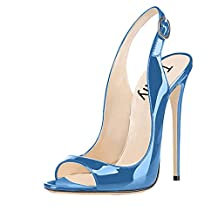 Trusify Womens 12cm Open Toe Stiletto Slingback Dress Sandals with Ankle Buckle Strap Size 4-15 US