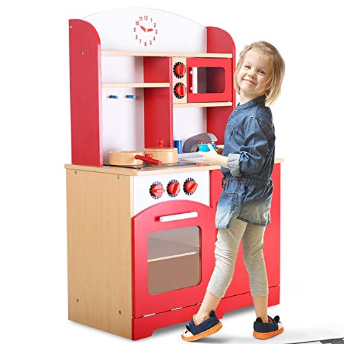 Costzon Kids Kitchen Playset, Wooden Cookware Pretend Cooking Food Set Toddler Gift Toy (36.6'' Height, ()