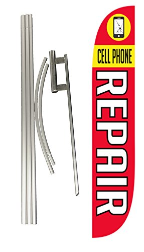 LookOurWay Cell Phone Repair Feather Flag Complete Set with Pole & Ground Spike