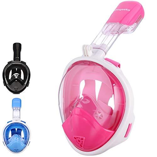 Snorkel Mask Kids, Sea view 180 degree Easy Breathe Full Face Snorkeling Mask for Children, Anti-Fog and Anti-Leak - Blue, Pink, Black (2017 Kid Version) (Snorkeling Masks For Kids)