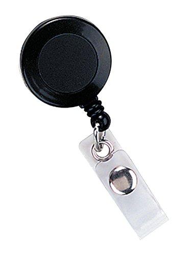 SICURIX Standard ID Badge Reels Round Belt Clip Strap 25 Pack BLACK (68424) (Round Black Reel Badge)